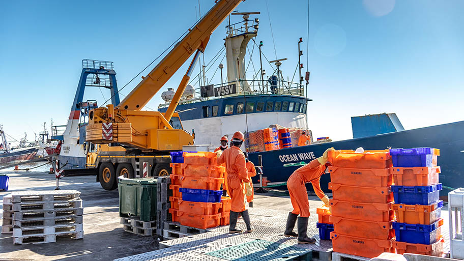 Men in orange overalls moving brightly coloured crates at harbour with large ship behind