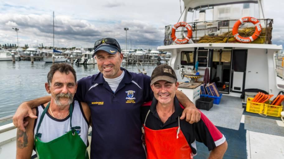 Western Australian rock lobster fishermen Fedele (Phil) Camarda, Fedele J Camarda and Joseph Camarda.