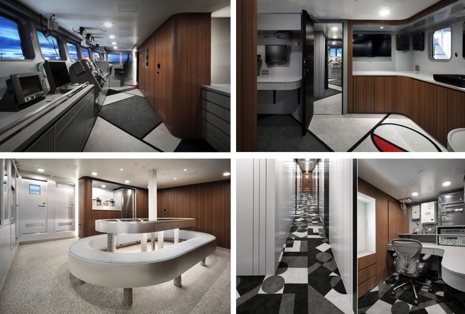 4 interior images of large fishing vessel showing tables, bridge and desks