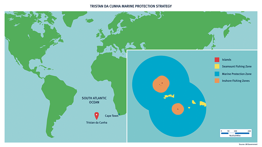 Map of Tristan da Cunha archipelago showing Marine Protected Area and fishing zones