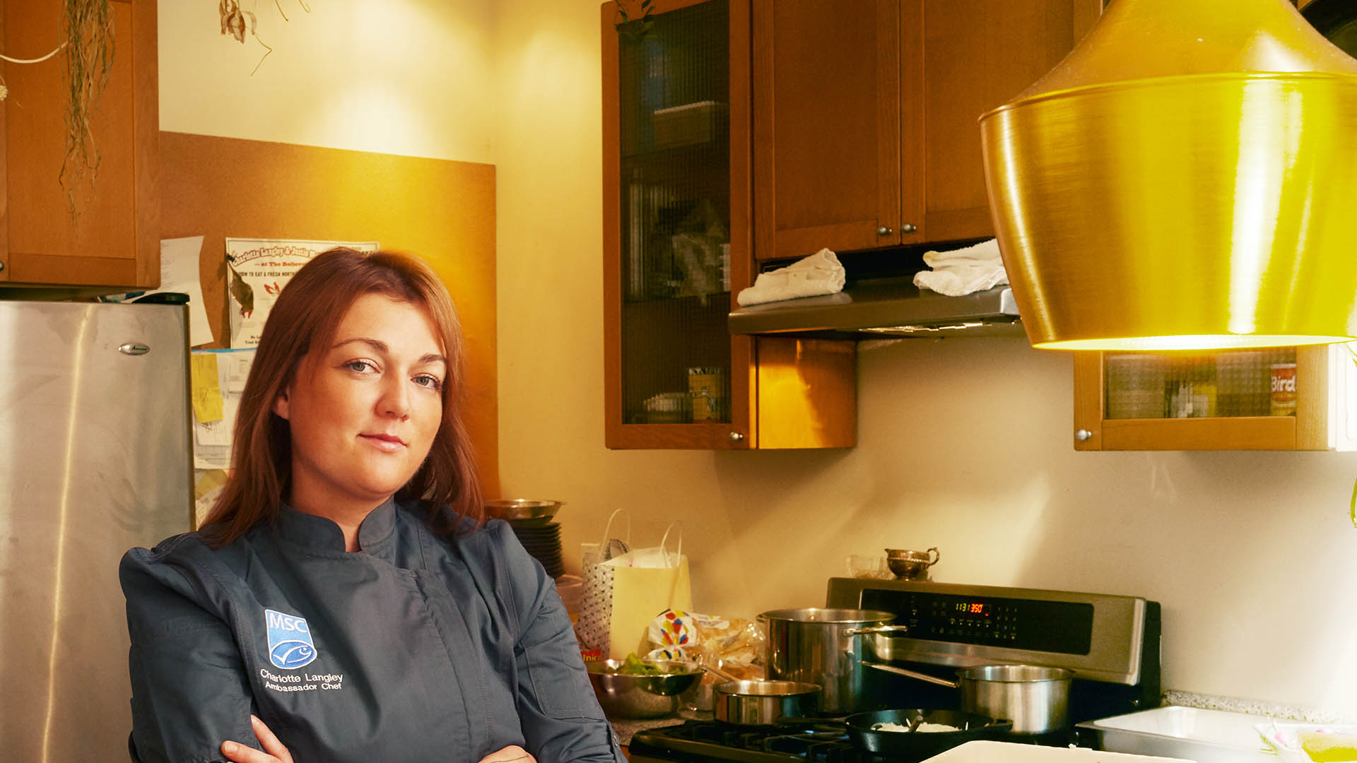 Chef Charlotte Langley in kitchen