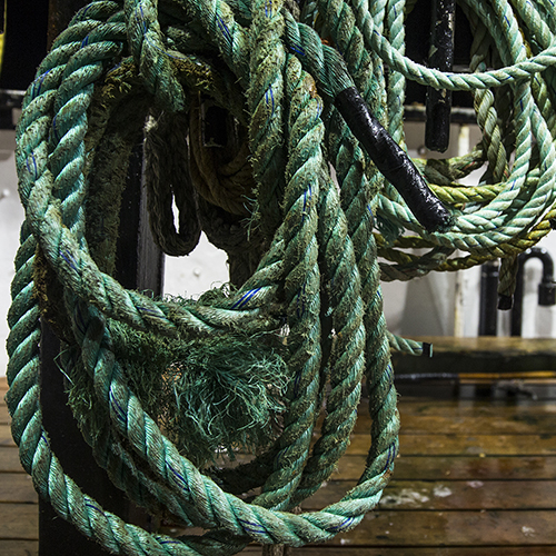 Rope hanging on deck on West Coast Groundfish fishery boat