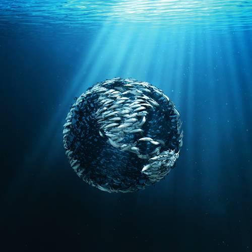 CGI fish in shape of globe underwater