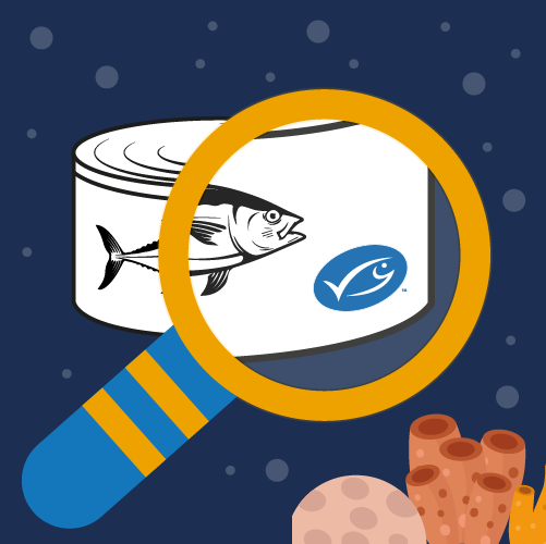 Illustration of magnifying glass underwater looking at tin of fish with MSC label
