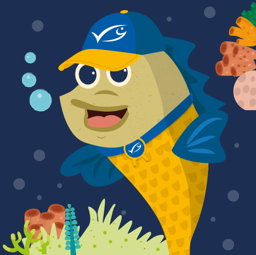 Illustration of herring character with blue MSC label baseball cap