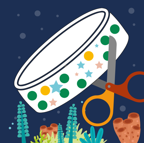 Illustration showing decorated wristband and scissors underwater