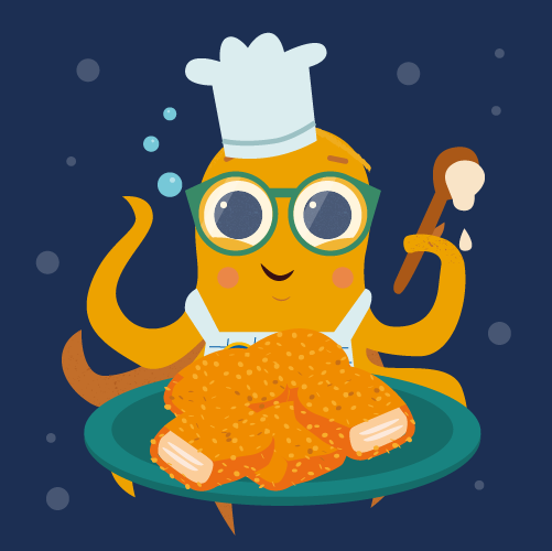 Illustration of octopus character with plate of fish nuggets