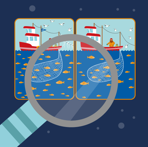 Illustration showing two spot-the-difference images of fishing boats under magnifying glass
