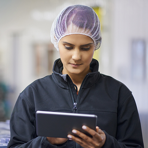Woman in protective hairnet checking stock with digital tablet