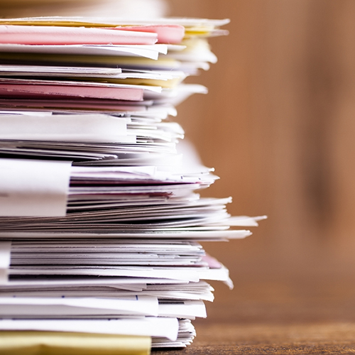 Large stack of files, close-up
