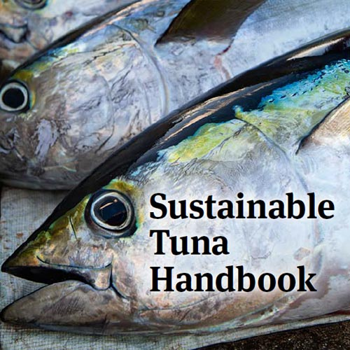 Tuna handbook cover image showing large head of tuna on blue background, with text.