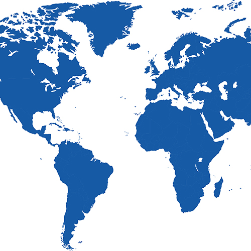 Square crop of world map with countries in blue