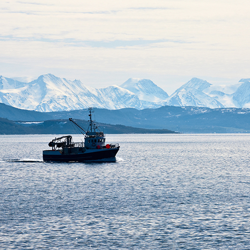 boat in the middle of the sea with icy mountains behind