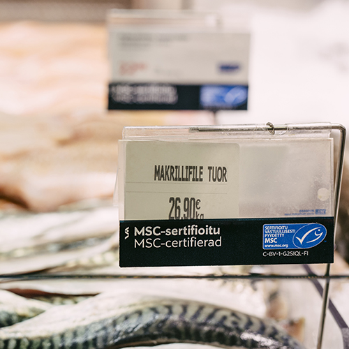 MSC label on fresh fish counter at Stockmann, Finland
