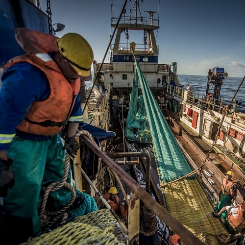 High angle shot of South African hake fisherman preparing equipment on fishing vessel