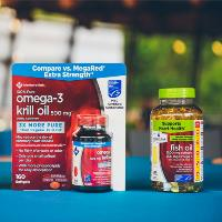 Bottles of MSC certified omega-3 krill oil and fish oil sold by Sam's club