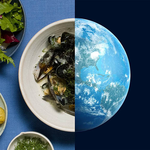 Bowl of mussels split screen with image of Earth