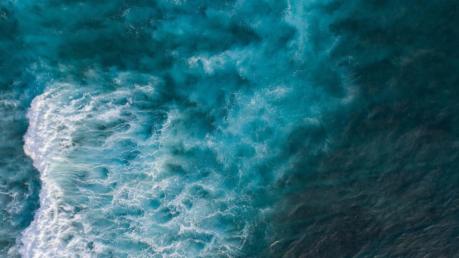 Stormy sea from above