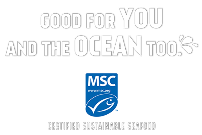 "MSC logo lockup with slogan ""Good for you and the ocean too"" on top; ""certified sustainable seafood"" below"