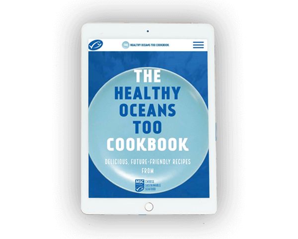 Healthy Oceans Too virtual cookbook teaser on white tablet