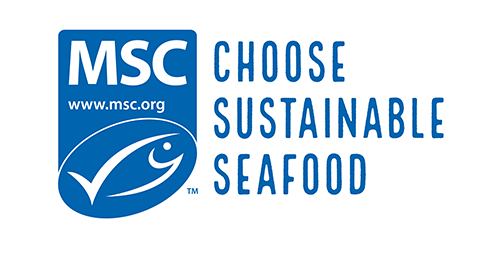 "MSC logo with text ""certified sustainable seafood"""