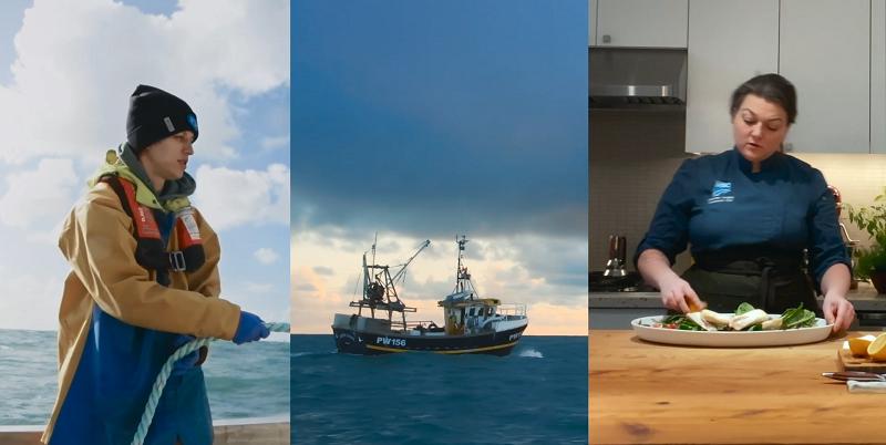 Split screen image of fisherman, fishing boat, and chef