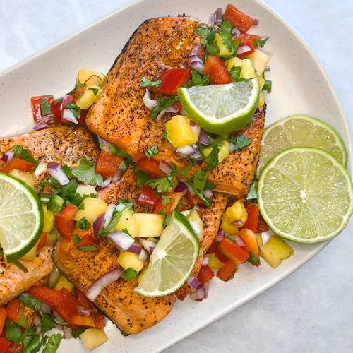 Broiled Wild Salmon with Pineapple Salsa