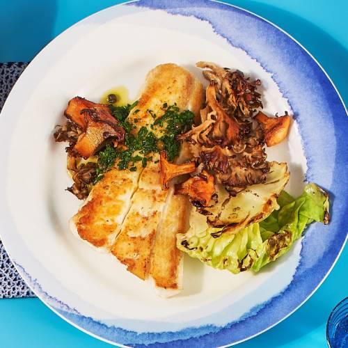 Pan seared wild halibut with chimichurri sauce