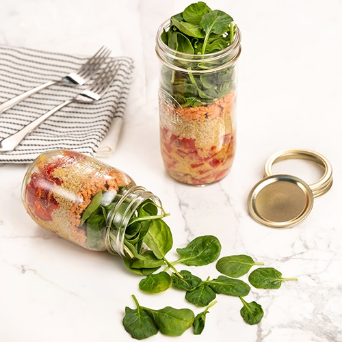Salmon and quinoa mason jar salad