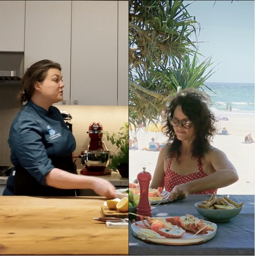 Split screen image of chef and woman eating