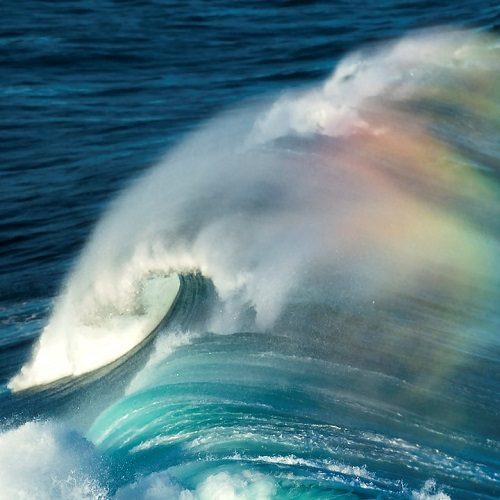 Close-up of a wave with rainbow reflecting off the ocean mist