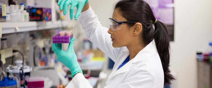 Woman examining sample in lab