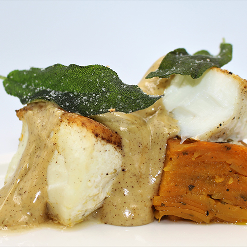 Wild Halibut with Squash Pavé, Sage and Brown Butter Hollandaise_Compressed
