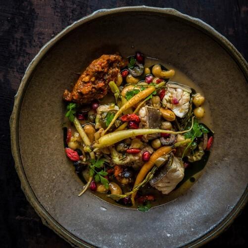 Recept presentatie met Tajine en lengfilet en wortel
