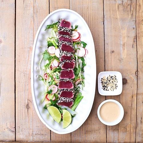 Thunfisch-Tataki mit Sojamayonnaise