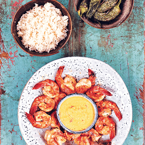 Piri piri prawns with mango and padron peppers