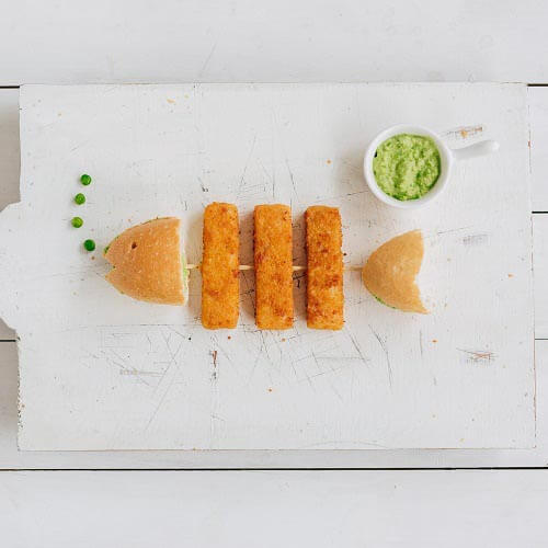 Fish fingers and bread shaped into a fish