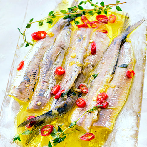 Sardines with olive oil, chilli and fresh herbs