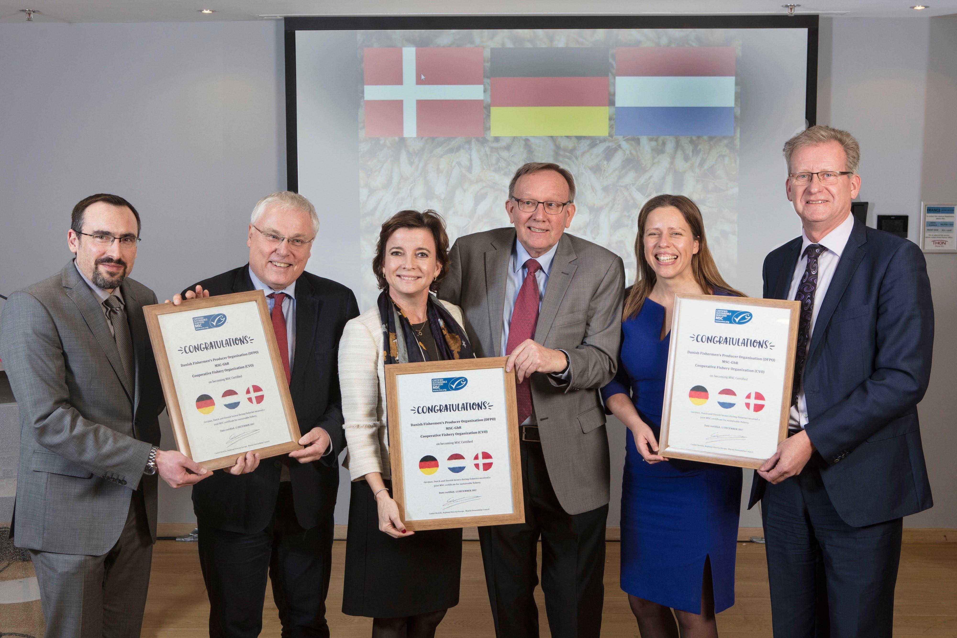 Bekanntgabe der Zertifizierung der Nordseekrabbenfischerei in Brüssel